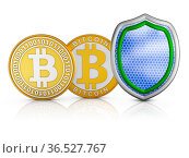 Bitcoins stacks of and shield, 3d render. Стоковое фото, фотограф Zoonar.com/Roman Ivashchenko / easy Fotostock / Фотобанк Лори