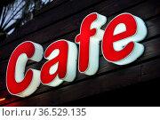 Cafe, reklame, reklameschild, leuchtreklame, werbung, schild, schrift... Стоковое фото, фотограф Zoonar.com/Volker Rauch / easy Fotostock / Фотобанк Лори