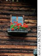 Fenster, blumenfenster, rustikal, bäuerlich, Berghütte, hütte, haus... Стоковое фото, фотограф Zoonar.com/Volker Rauch / easy Fotostock / Фотобанк Лори