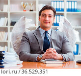 The angel investor concept with businessman and wings. Стоковое фото, фотограф Zoonar.com/Elnur Amikishiyev / easy Fotostock / Фотобанк Лори