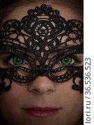 Schöne Unbekannte mit kunstvoll aus Spitze gefertigter Maske. Стоковое фото, фотограф Zoonar.com/Hans Eder / easy Fotostock / Фотобанк Лори