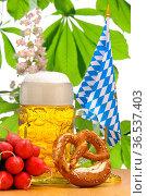 Maßkrug in Bayern, Stillife zum Biergarten beim Oktoberfest. Стоковое фото, фотограф Zoonar.com/Wolfilser / easy Fotostock / Фотобанк Лори
