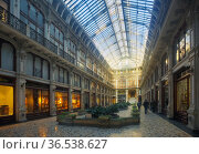 View historical building Gallery Subalpina, Turin, Italy. Стоковое фото, фотограф Яков Филимонов / Фотобанк Лори