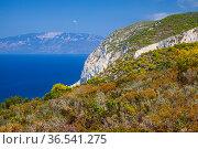 Navagio bay, Greece. Coastal landscape with rocky cliff (2016 год). Стоковое фото, фотограф EugeneSergeev / Фотобанк Лори