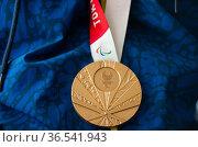 Parapowerlifting paralympic medallist Fabio Torres shows his bronze... Редакционное фото, фотограф Staff / age Fotostock / Фотобанк Лори