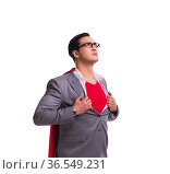 Young businessman wearing red cover on white. Стоковое фото, фотограф Elnur / Фотобанк Лори