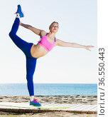 Woman practicing different yoga exercises. Стоковое фото, фотограф Яков Филимонов / Фотобанк Лори