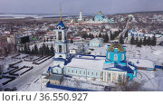City of Zadonsk. Church of the Assumption of the Blessed Virgin Mary and the Zadonsky Nativity of the Mother of God monastery. View from above. Russia. Стоковое видео, видеограф Яков Филимонов / Фотобанк Лори