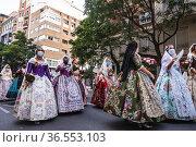 Ofrena de flores. Fallas September 2021. València. Spain. 500 days... Редакционное фото, фотограф Empar Bessó / age Fotostock / Фотобанк Лори