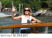Stefania Rocca arrivals at the Darsena of Hotel Excelsior for the... Редакционное фото, фотограф Maria Laura Antonelli / AGF/Maria Laura Antonelli / age Fotostock / Фотобанк Лори