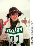 Schön anzuschauen, die historische Skifahrerin auf dem Feldberg - ... Стоковое фото, фотограф Zoonar.com/Joachim Hahne / age Fotostock / Фотобанк Лори