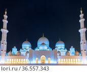 Sheikh Zayed Grand Mosque at night, Abu-Dhabi, UAE. Стоковое фото, фотограф Zoonar.com/Yuri Dmitrienko / easy Fotostock / Фотобанк Лори