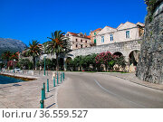 Road around Korcula old town walls, Croatia. Korcula is a historic... Стоковое фото, фотограф Zoonar.com/Don Mammoser / easy Fotostock / Фотобанк Лори