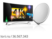 Modern 4k TV and a satellite dish on a white background. Стоковое фото, фотограф Zoonar.com/Roman Ivashchenko / easy Fotostock / Фотобанк Лори