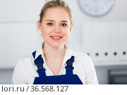 Workwoman of office cleaning service. Стоковое фото, фотограф Яков Филимонов / Фотобанк Лори