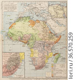 Map showing the partitiion of Africa, 1912. From Historical Atlas... Редакционное фото, фотограф Classic Vision / age Fotostock / Фотобанк Лори