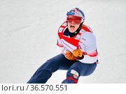 Samkova Eva (Tschechien) bejubelt den Weltcupsieg am Feldberg - ... Стоковое фото, фотограф Zoonar.com/Joachim Hahne / age Fotostock / Фотобанк Лори