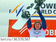 Olyunin Nikolay (Russland) jubelt über seinen Sieg beim FIS Weltcup... Стоковое фото, фотограф Zoonar.com/Joachim Hahne / age Fotostock / Фотобанк Лори