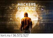 Faceless hacker at work with HACKERS ATTITUDE inscription, Computer... Стоковое фото, фотограф Zoonar.com/ranczandras / easy Fotostock / Фотобанк Лори