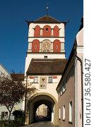 St.Martinstor in der Altstadt von Wangen im Allgäu, Baden-Württemberg... Стоковое фото, фотограф Zoonar.com/Günter Lenz / age Fotostock / Фотобанк Лори