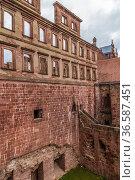 Гейдельберг, Германия. Гейдельбергский замок: руины библиотеки, около 1520 (2017 год). Стоковое фото, фотограф Rokhin Valery / Фотобанк Лори