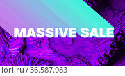 Image of massive sale text with neon shade and abstract liquid purple background. Стоковое фото, агентство Wavebreak Media / Фотобанк Лори