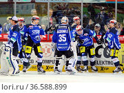Sieg: Die Schwenninger Spieler feiern den 6:5 Sieg gegen die Krefeld... Стоковое фото, фотограф Zoonar.com/Joachim Hahne / age Fotostock / Фотобанк Лори