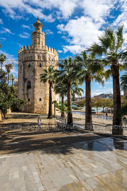 Torre del Oro, historical limestone Tower of Gold in Seville, Spain