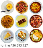 Collection of authentic dishes of Spanish cuisine. Стоковое фото, фотограф Яков Филимонов / Фотобанк Лори