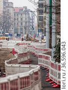 Grossbaustelle in der Berliner Invalidenstrasse in Mitte. Стоковое фото, фотограф Zoonar.com/Karl Heinz Spremberg / age Fotostock / Фотобанк Лори