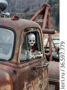 Der Tod fährt mit Skelett am Steuer eines alten Schrottautos. Стоковое фото, фотограф Zoonar.com/Eder Christa / age Fotostock / Фотобанк Лори