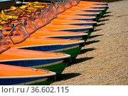 Viele Tretboote in einer Reihe am Ufer. Стоковое фото, фотограф Zoonar.com/Thomas Klee / easy Fotostock / Фотобанк Лори