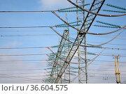 Umspannwerk, strom, energie, strommast, elektrizitätswerk, transformator... Стоковое фото, фотограф Zoonar.com/Volker Rauch / easy Fotostock / Фотобанк Лори