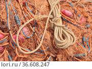 Fischernetz, netz, fischen, hafen, braun, schleife, fischerhafen,... Стоковое фото, фотограф Zoonar.com/Volker Rauch / easy Fotostock / Фотобанк Лори