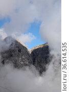 Wolken, nebel, kalkkögel, stubai, stubaital, berg, berge, alpen, hochgebirge... Стоковое фото, фотограф Zoonar.com/Volker Rauch / easy Fotostock / Фотобанк Лори