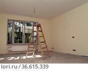 Holzleiter steht in einem frisch renoviertem Zimmer. Стоковое фото, фотограф Zoonar.com/Karl Heinz Spremberg / easy Fotostock / Фотобанк Лори