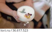 Woman with elegant restaurant cocktail. Стоковое видео, видеограф Данил Руденко / Фотобанк Лори