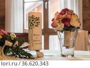 Symbolic wedding details - the wedding candle. Стоковое фото, фотограф Zoonar.com/Hans Eder / age Fotostock / Фотобанк Лори