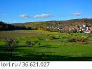 BW. Häfnerhaslach, bunte Weinberge im Herbst, Стоковое фото, фотограф Zoonar.com/Bildagentur Geduldig / easy Fotostock / Фотобанк Лори