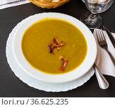 Hearty vegetable soup puree with ham pieces. Стоковое фото, фотограф Яков Филимонов / Фотобанк Лори