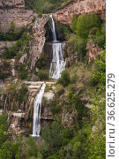 Sant Miquel del Fai with waterfall, Barcelona, Spain. Стоковое фото, фотограф Яков Филимонов / Фотобанк Лори