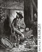 The vagabond gypsy, painting by C Koller. Old 19th century engraved... Редакционное фото, фотограф Jerónimo Alba / age Fotostock / Фотобанк Лори