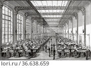 New central telegraph station in Paris 1884, France. Europe. Old ... Редакционное фото, фотограф Jerónimo Alba / age Fotostock / Фотобанк Лори