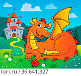 Lying dragon theme image 2 - picture illustration. Стоковое фото, фотограф Zoonar.com/Klara Viskova / easy Fotostock / Фотобанк Лори