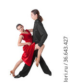 Young couple dancing tango isolated over white. Стоковое фото, фотограф Zoonar.com/Nadezhda Bolotina / easy Fotostock / Фотобанк Лори