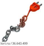 Chain transforming turning into electric power cable plug, dark grey... Стоковое фото, фотограф Zoonar.com/Viktors Ignatenko / easy Fotostock / Фотобанк Лори