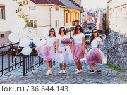 Girls having fun and celebrating together on bachelorette party. Group... Стоковое фото, фотограф Zoonar.com/Oksana Shufrych / easy Fotostock / Фотобанк Лори