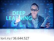 Deep learning concept with businessman pressing button. Стоковое фото, фотограф Elnur / Фотобанк Лори