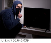 Burglar thief stealing tv from apartment house. Стоковое фото, фотограф Elnur / Фотобанк Лори