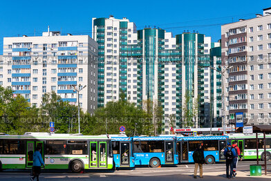Moscow, Russia - May 9. 2018 - Bus station on Kryukovskaya square in Zelenograd